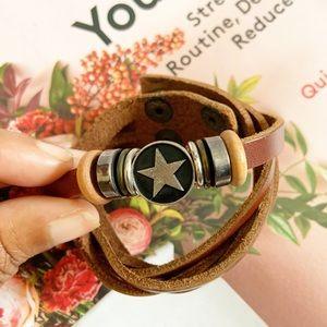 Genuine Leather Star Double Clasp Bracelet